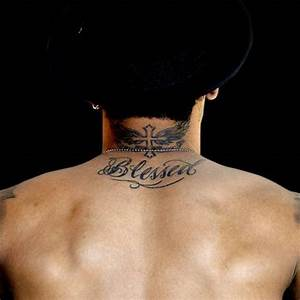 Neymar Blessed tattoo on Neymars upper back and winged ...