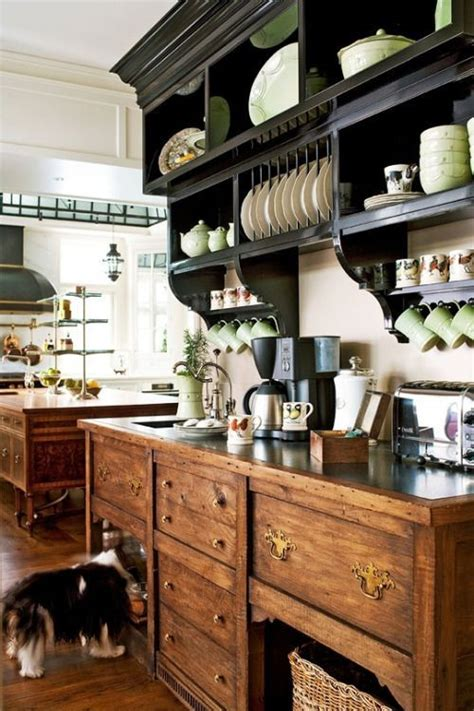 traditional english cottage style kitchen      built  plate rack  shelf