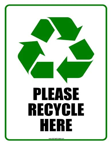 Printable Please Recycle Here Sign