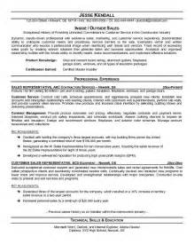 inside sales rep resume exles orthopedic sales representative sle resume