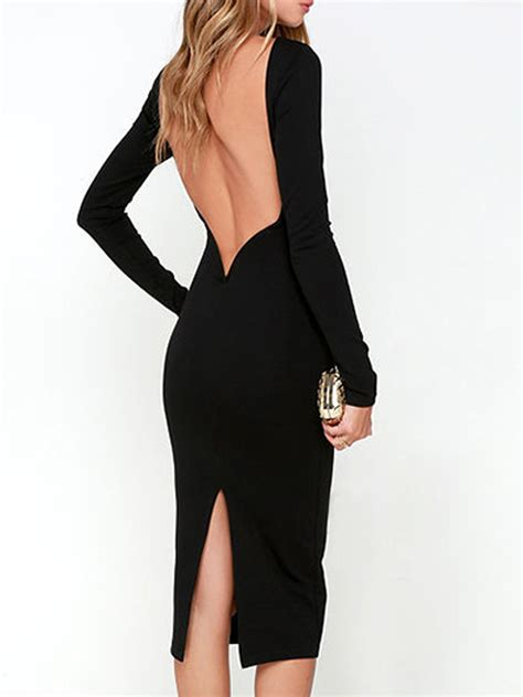 Thanksgiving Day Beauty 2016 Latest Black Backless Long