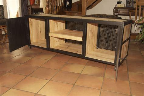 bureau bois et fer meuble fer et bois