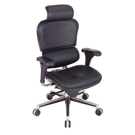 high back ergonomic chair with headrest in leather black