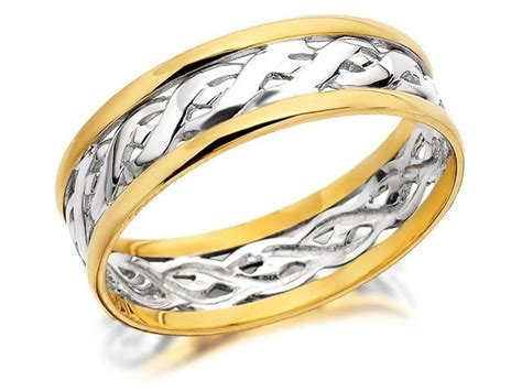 9ct two colour gold weave wedding ring 7mm r4329 f hinds jewellers
