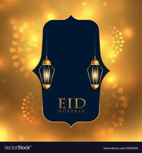 eid mubarak lovely golden festival card design vector