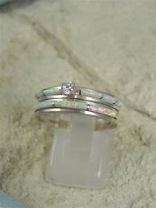native american opal wedding ring set by hollywoodrings on With opal wedding ring set