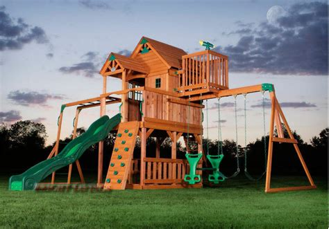Outdoor Wooden Swing Set Toy Playhouse Playset With Slide
