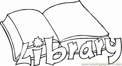 Library Coloring Pages Books Printable Colouring Open