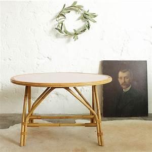Table Basse Rotin Vintage Atelier Du Petit Parc