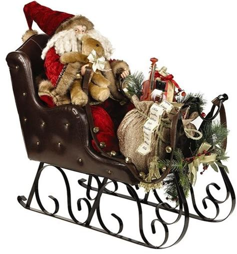 santa  sleigh traditional outdoor holiday decorations