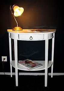 Beistelltisch Weiß Vintage : konsolentisch 70x75x36cm halbrund 1 schublade ablageboden pappel massiv wei antik lackiert ~ Yasmunasinghe.com Haus und Dekorationen