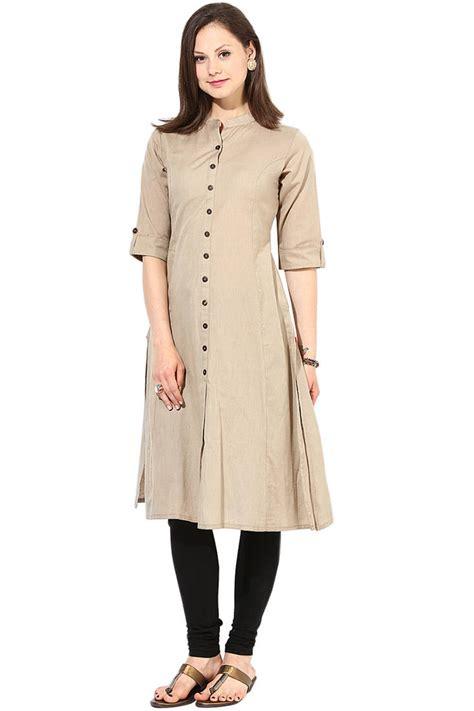 Long Kitchen Design Ideas - buy latest long khakhi color plain cotton fabric kurta online