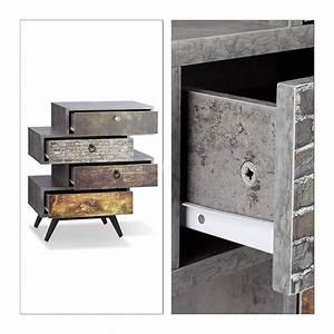 Commode Style Industriel : commode vintage design 4 tiroirs style industriel gris ~ Teatrodelosmanantiales.com Idées de Décoration