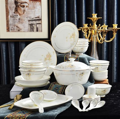 china dinner dinnerware sets bone fine porcelain plate serving party dishes buffet gold bento plates line collection dining piece entertaining