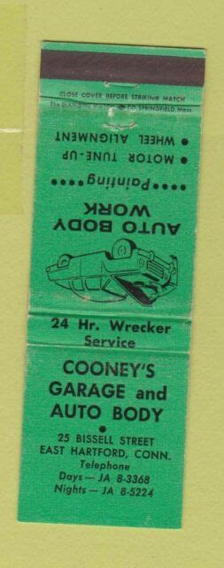 matchbook cover cooneys garage auto body east hartford