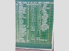 Time table of bus services in LehLadakh region India
