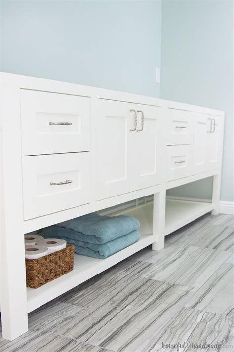 mission style open shelf bathroom vanity build plans