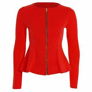Womens Ladies Zip Peplum Ruffle Plus Size Tailored Blazer ...
