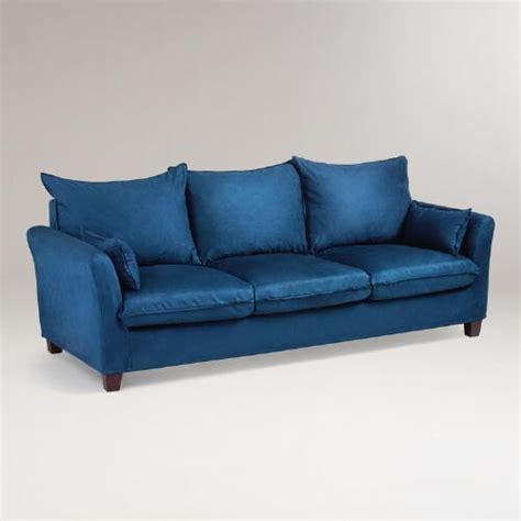 World Market Luxe Sofa Slipcover by Midnight Blue Microsuede Luxe 3 Seat Sofa Slipcover