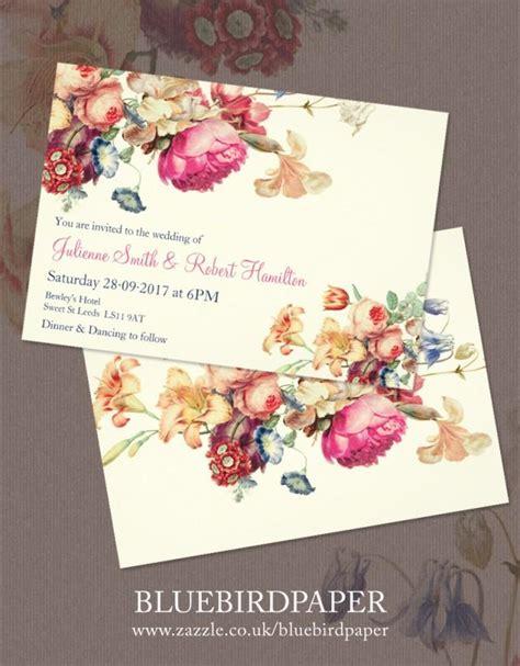 antique garden a floral vintage wedding invitations