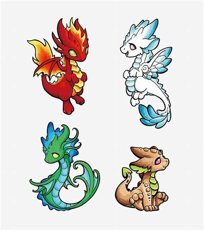 Dragon Fire Dragons Vector Water Earth Drawing