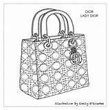 Dior Lady Designer Drawing Sketch Purses Handbag Cad Coloring Purse Sketches Handbags Disegno Technische Zeichnung Borsa Moda Sac Figurines Borse sketch template