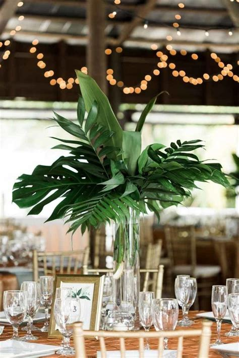Tropical Vases by 25 Greenery Wedding Table Runners And Centerpieces Obsigen