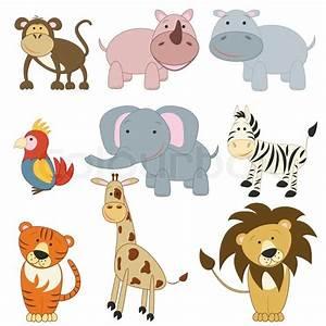 Cartoon African Animals Set Stock Vector Colourbox