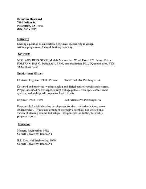 Exle Of Simple Resume To Apply by Exles Of Resumes Email Cover Letter Layout Format