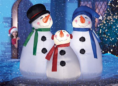 outdoor lighted snowman decorations lighted frosty snowman family christmas outdoor airblown