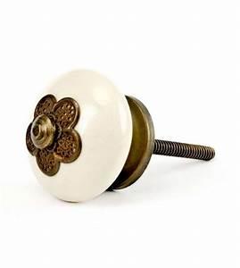 Bouton Pour Meuble : petit bouton de meuble en porcelaine rosace fleur boutons ~ Teatrodelosmanantiales.com Idées de Décoration