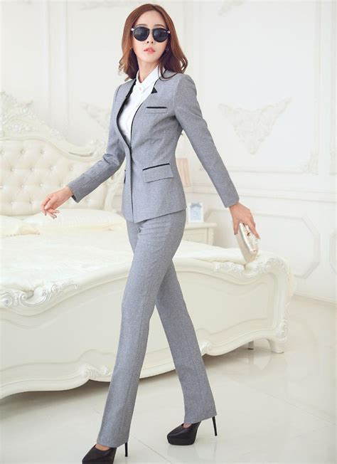 New Elegant Grey Autumn Winter Business Women Suits Jackets And Pants Formal Pantsuits