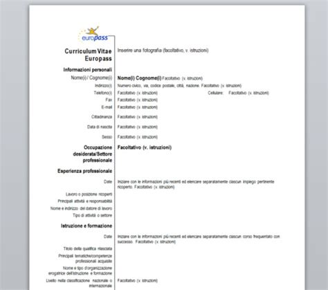 download gratis curriculum vitae europeo da compilare pdf merge curriculum vitae europass download