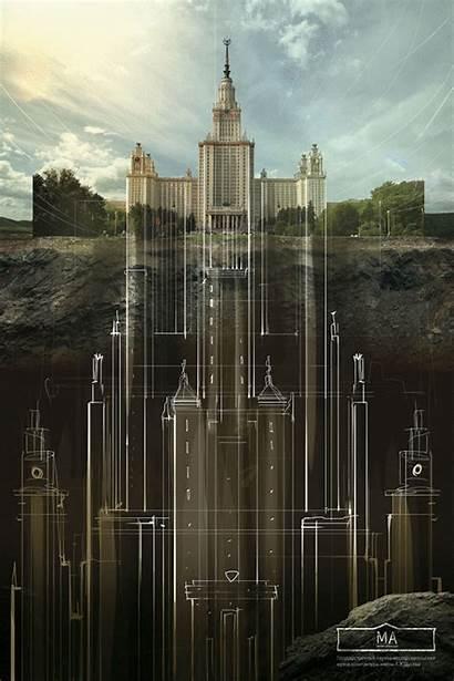 Architecture Moscow State Lomonosov University Lies Beneath