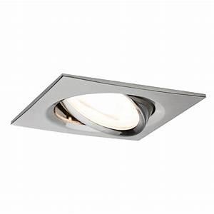 Spot LED encastrable carré orientable dimmable 220V Acier 7W GU10 Paulmann 93619