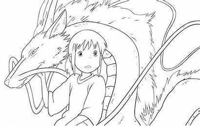Haku Chihiro Outlines Coloring Pages Castle Bg