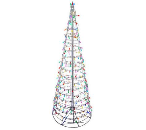 qvc pop up pre lite decorated christmas tree 6 pre lit collapsible outdoor tree with led lights page 1 qvc