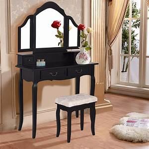 Tri, Folding, Mirror, Vanity, Makeup, Table, Set, Bedroom, W, Stool, U0026, 4, Drawers, Black