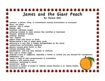 james and the giant peach vocabulary and worksheet by the