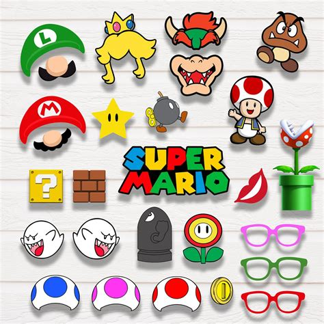 super mario photo booth props ohhappyprintables