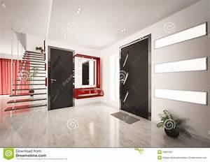Hall Entrée Maison Moderne : l 39 int rieur moderne du hall avec l 39 escalier 3d rendent illustration stock image 18621027 ~ Melissatoandfro.com Idées de Décoration