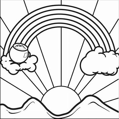 Sunrise Coloring Rainbow Pages Drawing Rainbows Pot
