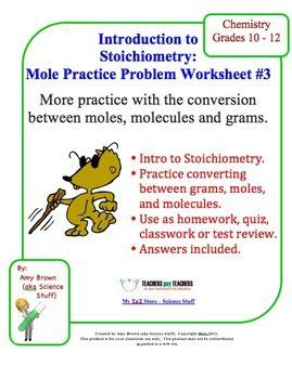 mole practice worksheet 3 moles molecules and mass