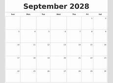 September 2028 Blank Monthly Calendar