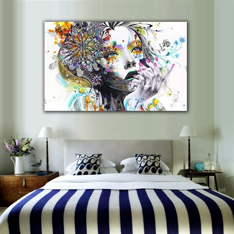 Curtains and blinds are probably the most noticeable decorations on your wall. 1 Piece Modern Wall Art Girl With Flowers Unframed Canvas Painting For Home Bedroom Art Wall ...