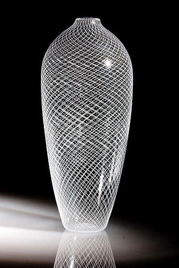 tall white reticello vase  robert dane art glass vase