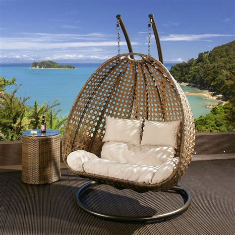2 seater garden hanging chair sofa brown rattan
