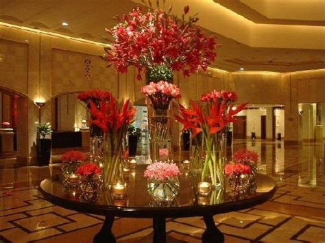 lobby flower decor picture   ritz carlton doha