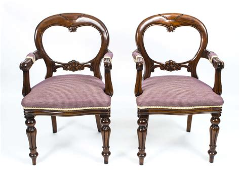 Pair Victorian Style Balloon Shieldback Armchairs