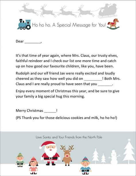 santa letter template free printable thanks for the letters from santa templates cyberuse 93265
